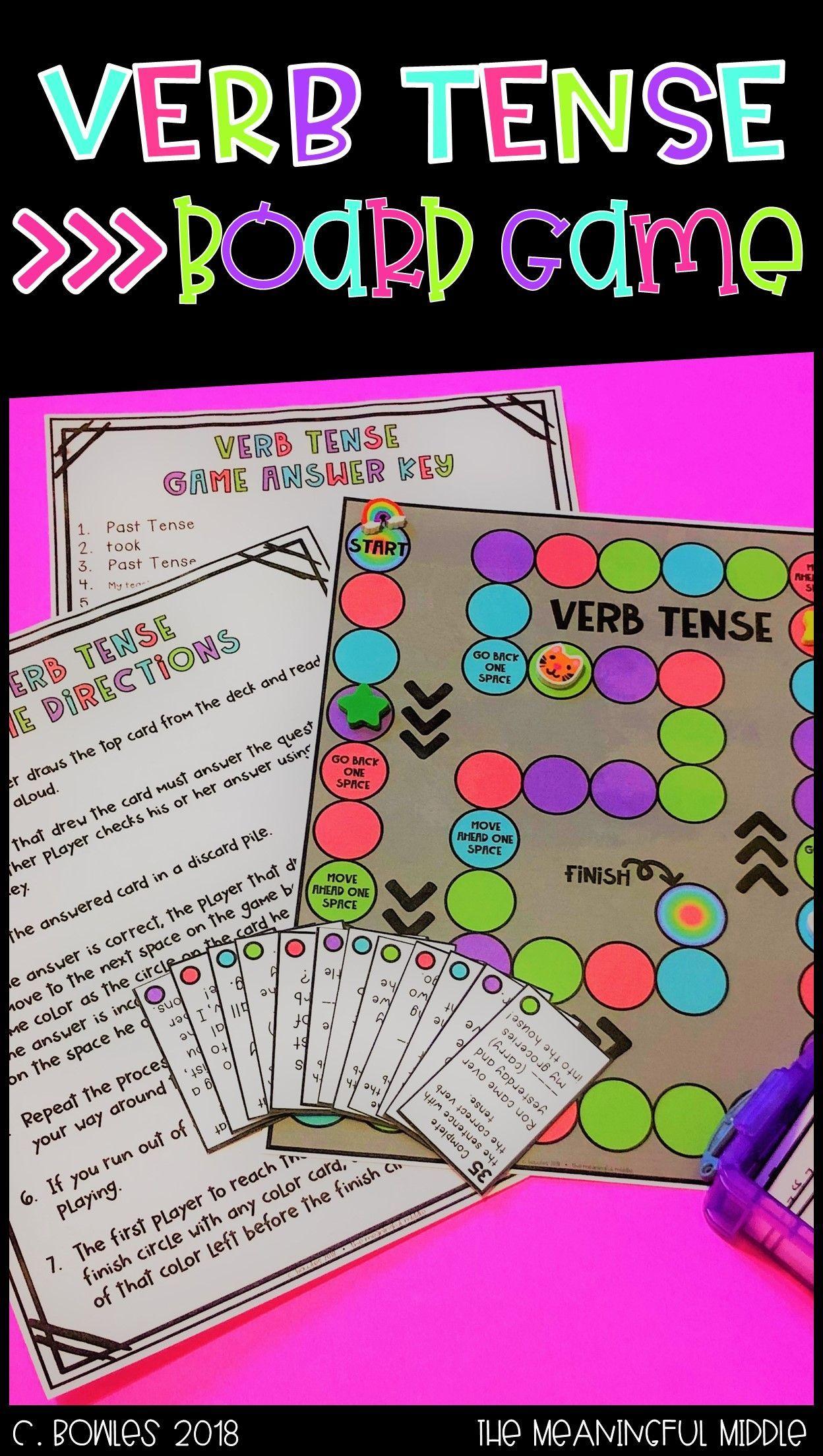 Verb Tense Board Game Teachersfollowteachers Iteachela Verb Tenses Verbs Activities Verb Tenses Activities