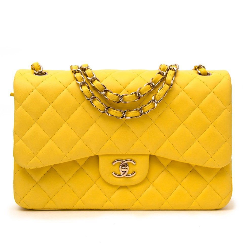 4127360dee62 Chanel Classic Flap Bag Jumbo in Canary Yellow | Fashion In Colors ...