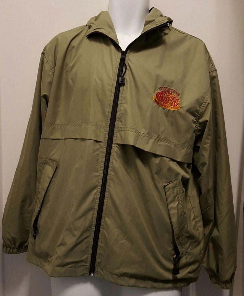Mens hooded flannel jacket  Overseas Adventurers Club Jacket Sz Large Khaki Windbreaker Rain