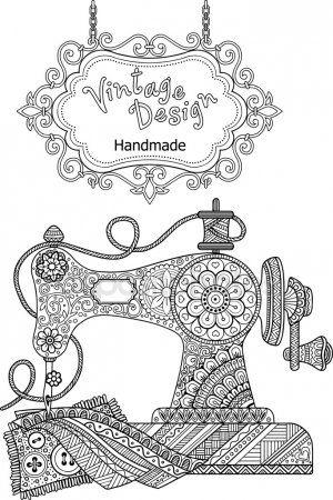 Maquina De Coser Vintage Decorativo Para Colorear Para Adultos