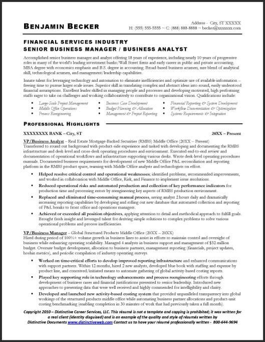 business analyst sample resume - page 1