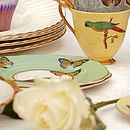Upcycled Parrot Design Vintage Tea Cup
