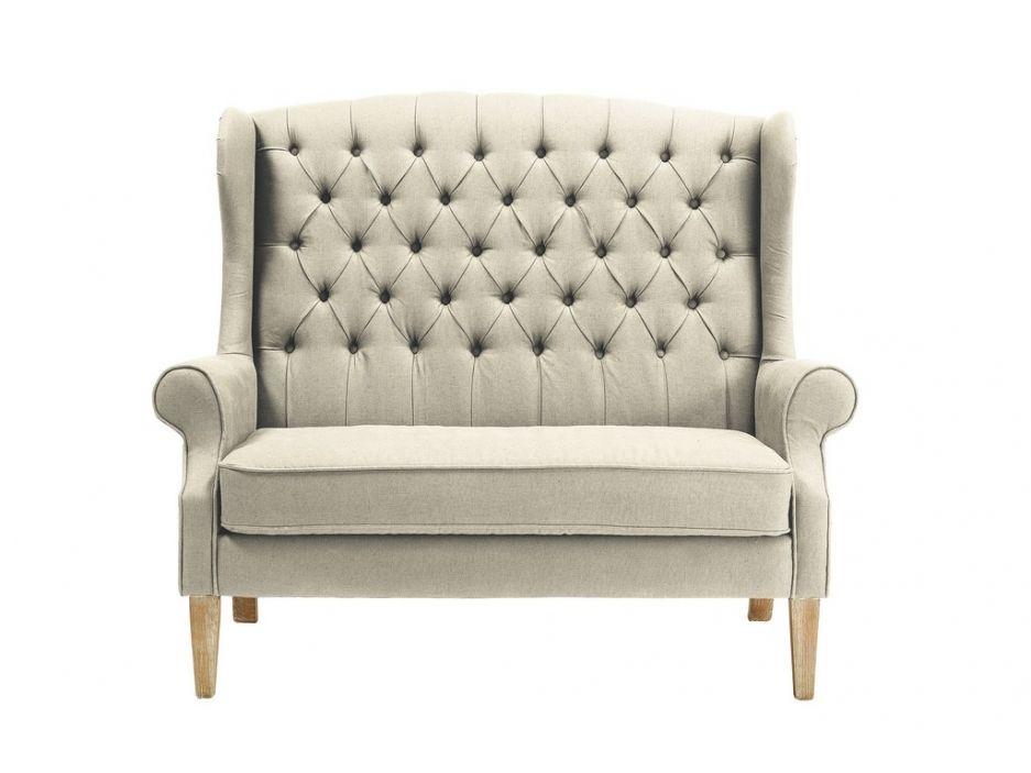 2 Sitzer Sofa Stoff Barock Genievre Beige