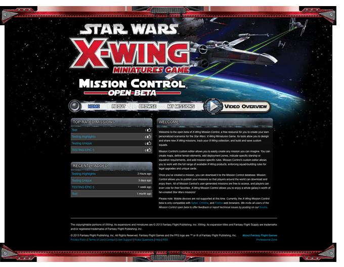 Fantasy Flight Games News X Wing Tm Mission Control X Wing Miniatures Mission Miniature Games