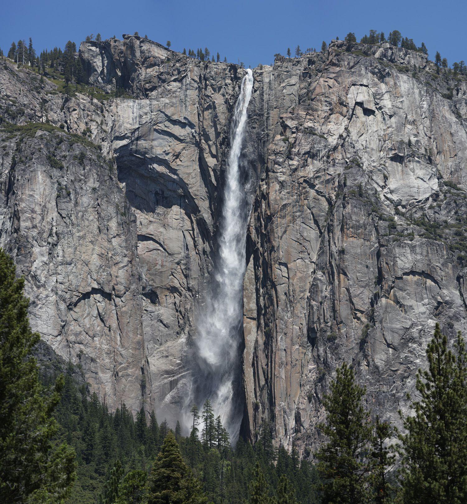Yosemite Valley National Park: Ribbon Falls From Valley Floor