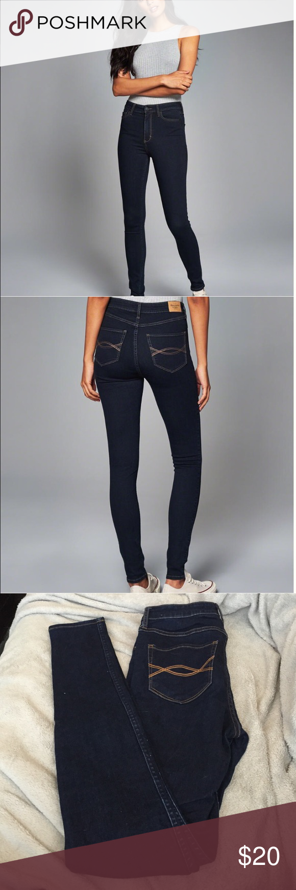EUC A&F rinse high rise super skinny sz 4long Great condition! Worn a few times always hung to dry never put in the dryer. Sz 4 long high rise super skinnies Abercrombie & Fitch Jeans Skinny
