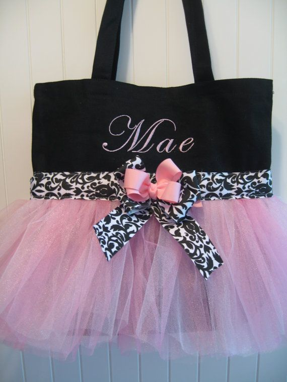 Embroidered Dance Bag Soft Pink and Damask by gkatdesigns 7ac569290806a