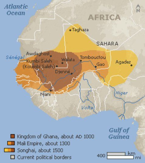 Kingdom Of Ghana Ad 1000 Mali Empire Ad 1300 Songhai Ad 1500