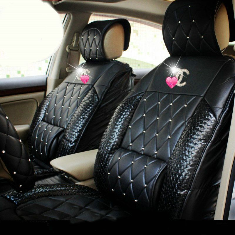 Buy Wholesale Luxury Diamond Chanel Universal Automobile Leather Car Seat Cover Cushion 10pcs Sets Rose F Leather Car Seats Pink Car Interior Car Accessories