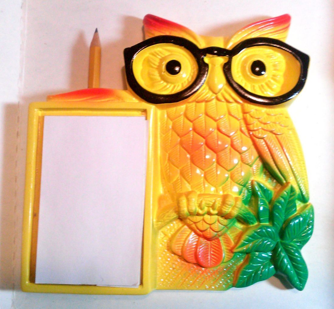 OWL Eyes Miller Studios Wall Plaque Mid Century Collectible Notepad ...