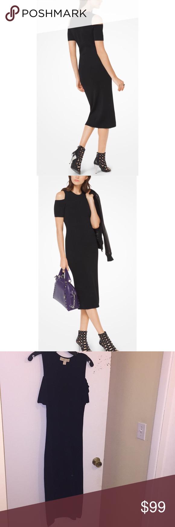 68a56e2579ae Michael Kors Black Midi Dress Stretch-Viscose Peekaboo Midi Dress Style#  MF78WSK5ZV This sophisticated
