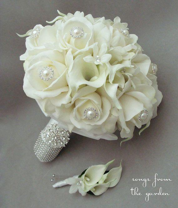 Wedding Bridal Bouquet Throw Away Bouquet Polyester /& Silk Rinestones