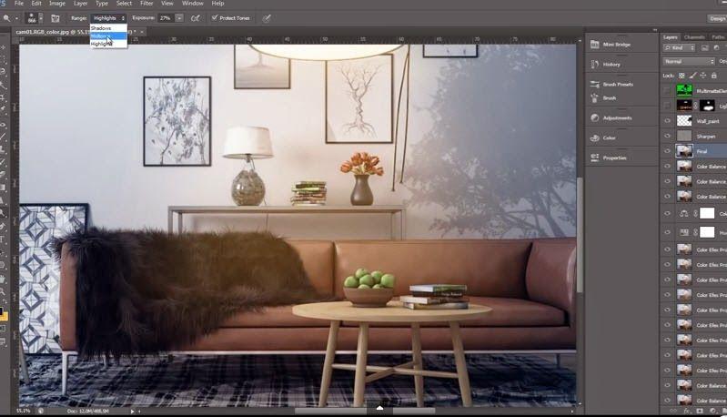 Advanced Post Production Techniques In Photoshop Interior Scene Cg Tutorials Library Interior Adobe Creative Suite Software Design