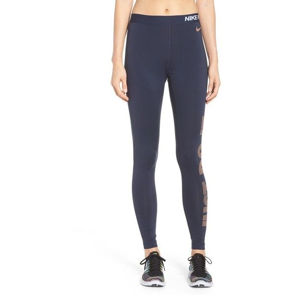 Women's Nike Pro Warm Logo Leggings (934.725 VND) ❤ liked on Polyvore featuring activewear, activewear pants, logo sportswear, nike sportswear, nike, nike activewear pants and nike activewear