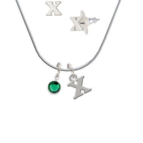 Silvertone Crystal Green Channel Drop - X Initial Charm Necklace and Stud Earrings Jewelry Set * Click on the image for additional details. #ILoveJewelry