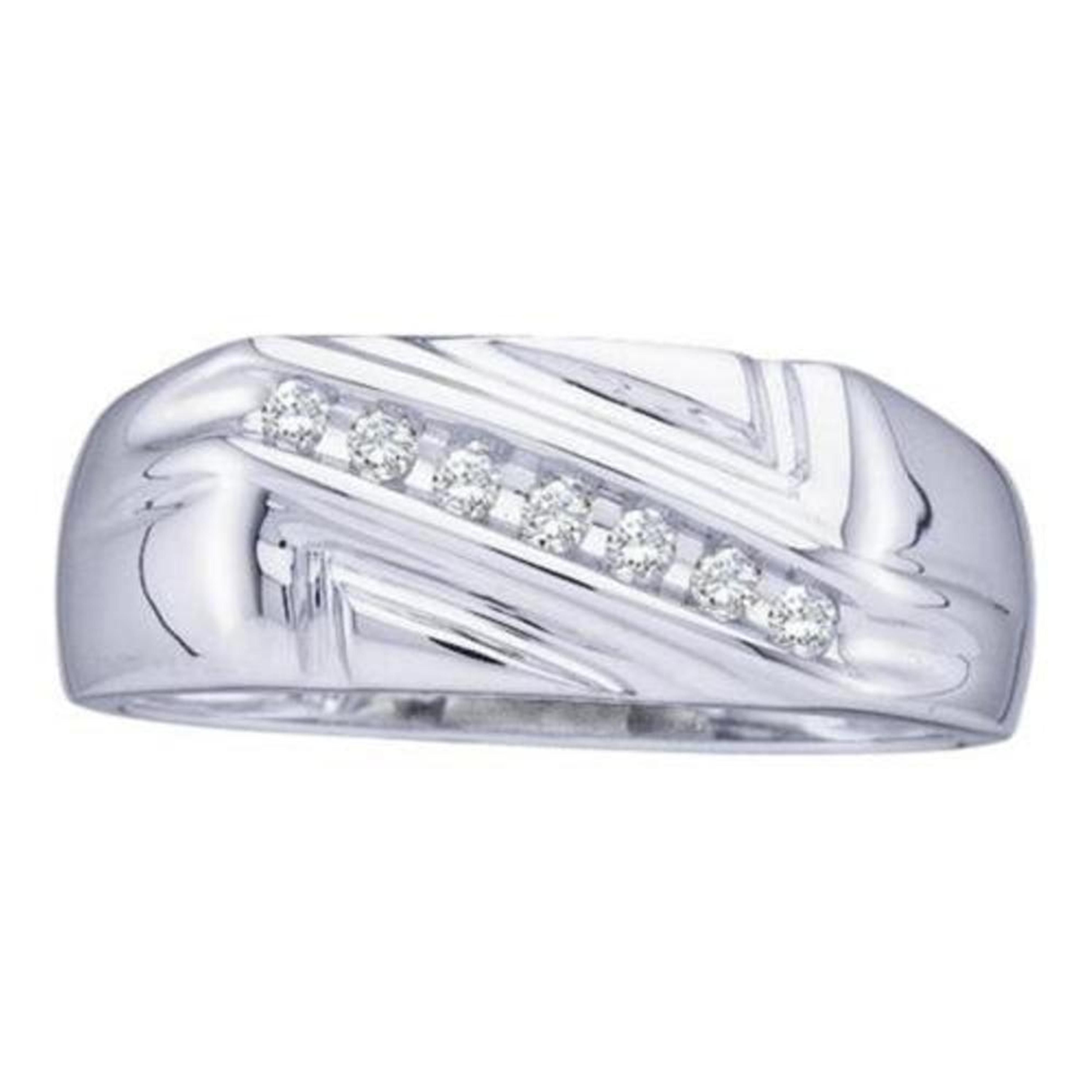10kt White Gold Mens Round Diamond Wedding Band Ring 1//8 Cttw