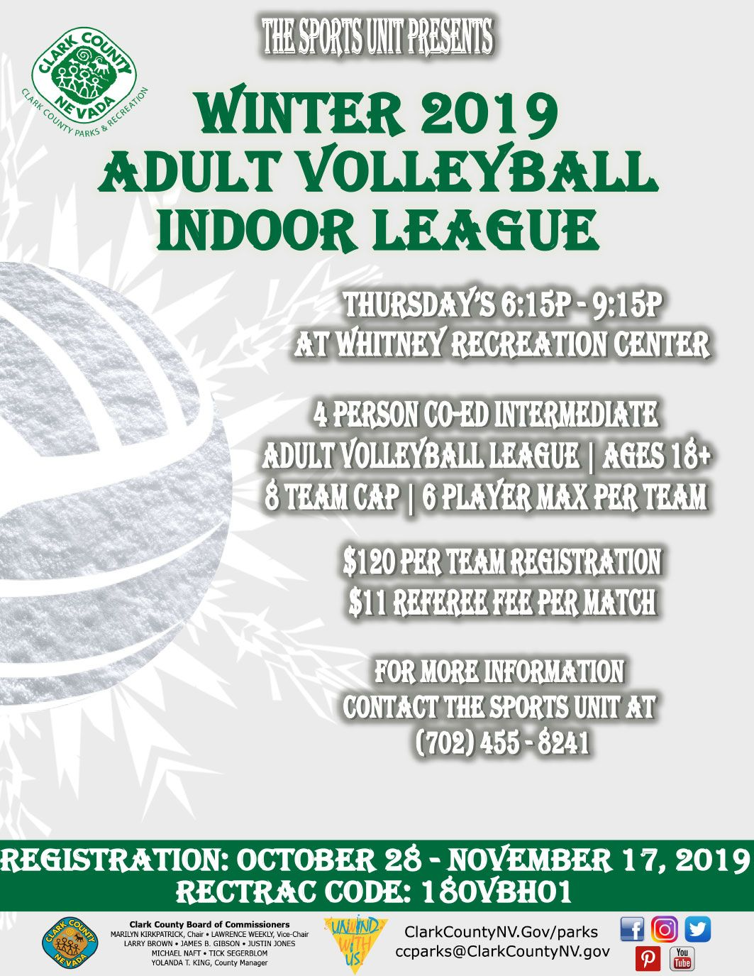Registration Is Quickly Approaching For The Winter 2019 Indoor Volleyball League At Whitney Recreation Center Recreation Centers Indoor Volleyball Volleyball
