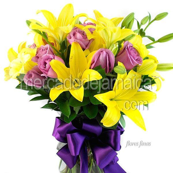 Arreglo Floral Morado Y Amarillo Envia Flores Arreglos