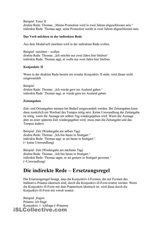 Der Konjunktiv I. Indirekte Rede | Pinterest | Die schule, Schule ...