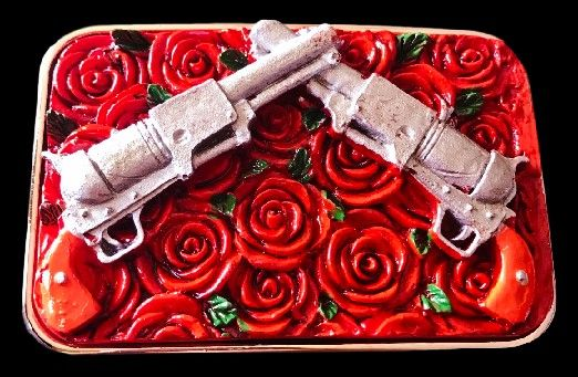 Red Roses Flowers Floral Guns Revolvers Western Belt Buckle #guns #gunsandflowers #gunsbeltbuckle #gunsbuckle #roses #rosesbuckle #rosesbeltbuckle #flowerbeltbuckle #coolbuckles #beltbuckles