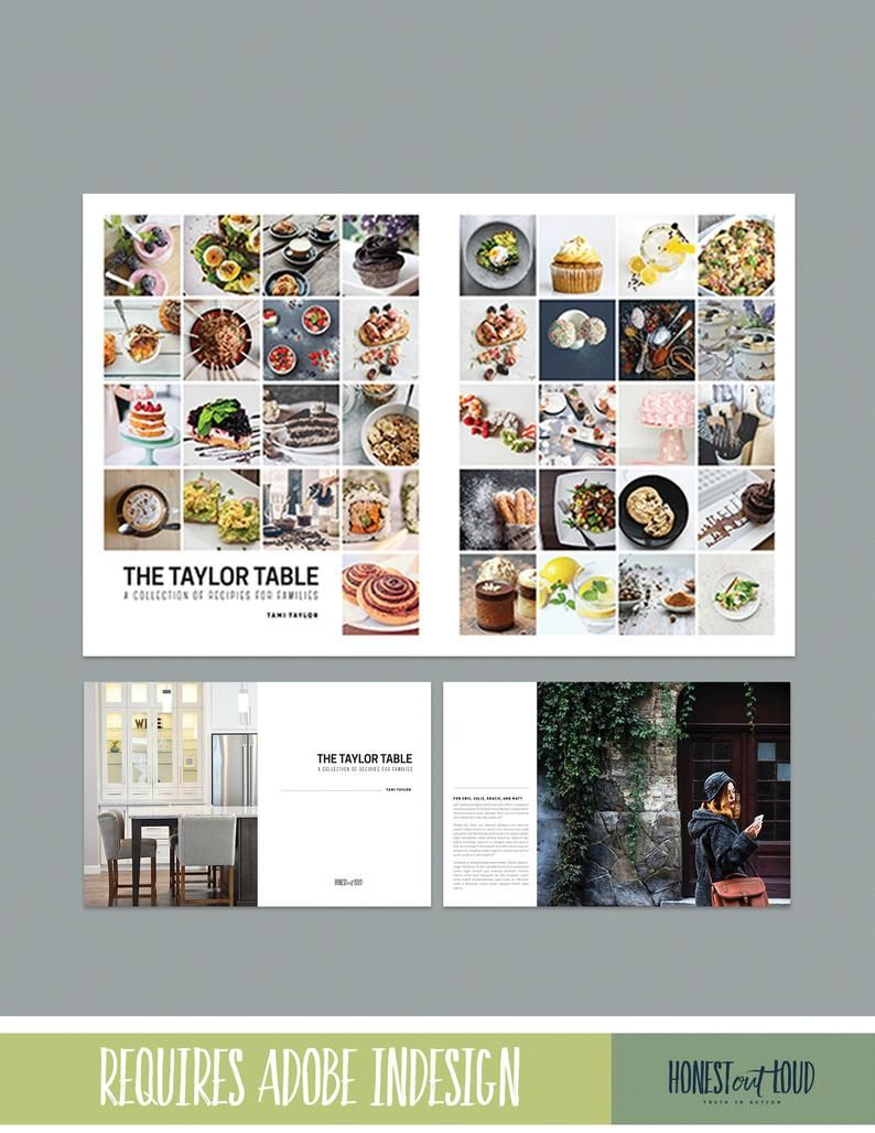 Cookbook And Recipe Template For Adobe Indesign Instant Etsy In 2020 Cookbook Template Indesign Recipe Template