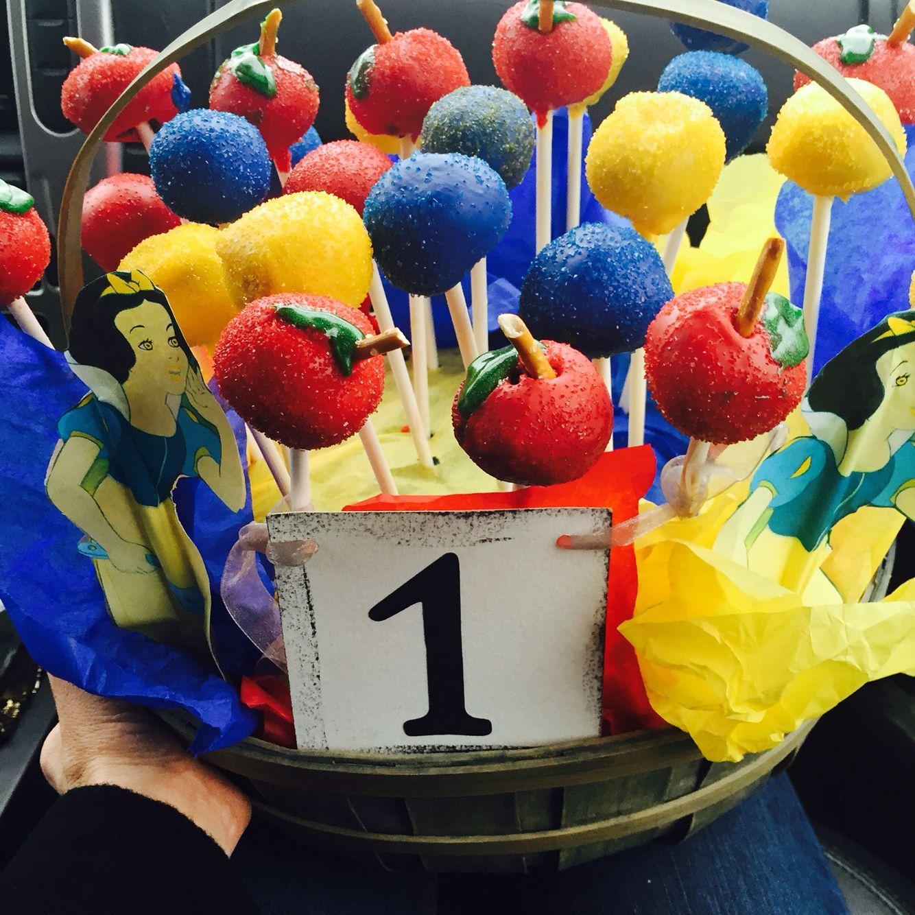 1st bday cake pop Snow White theme basket.