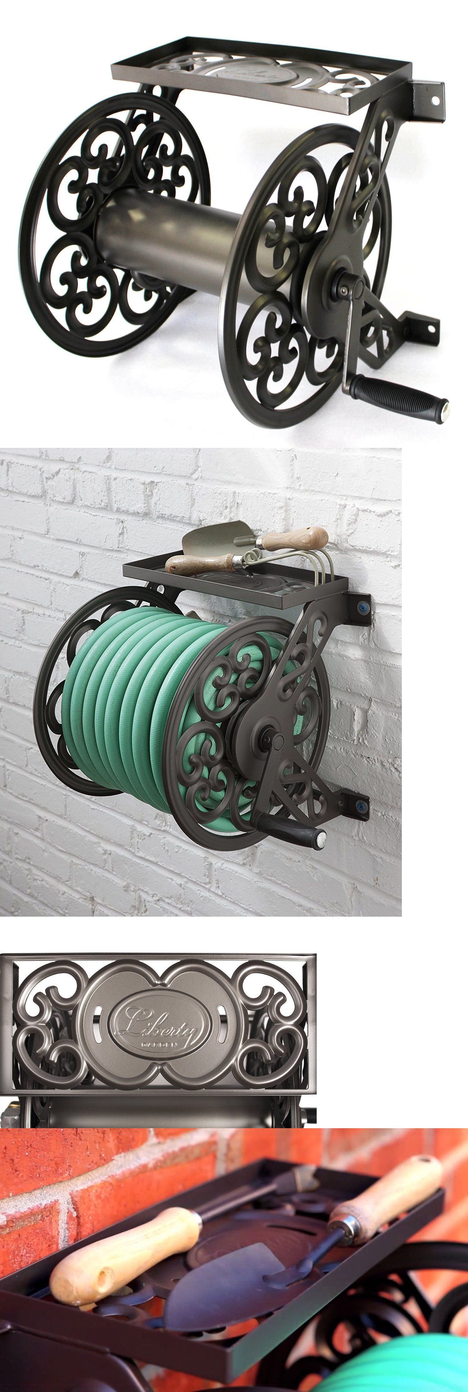 Hose reels and storage 46435 garden hose reel wall mount metal hose reels and storage 46435 garden hose reel wall mount metal decorative yard outdoor bronze amipublicfo Image collections