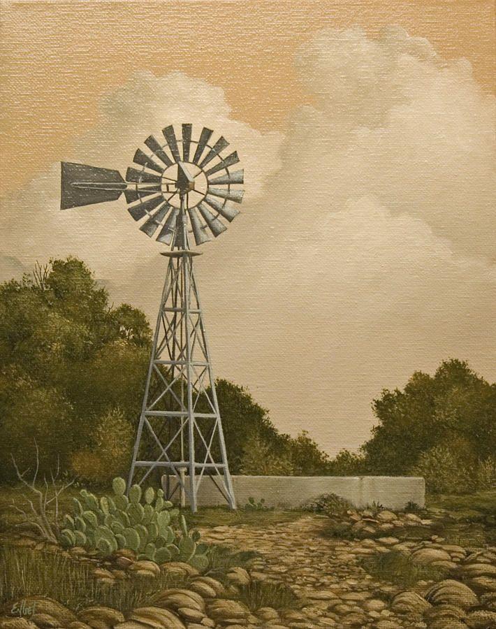 South Texas Windmill By Norman Engel Windmill Windmill Tattoo Painting