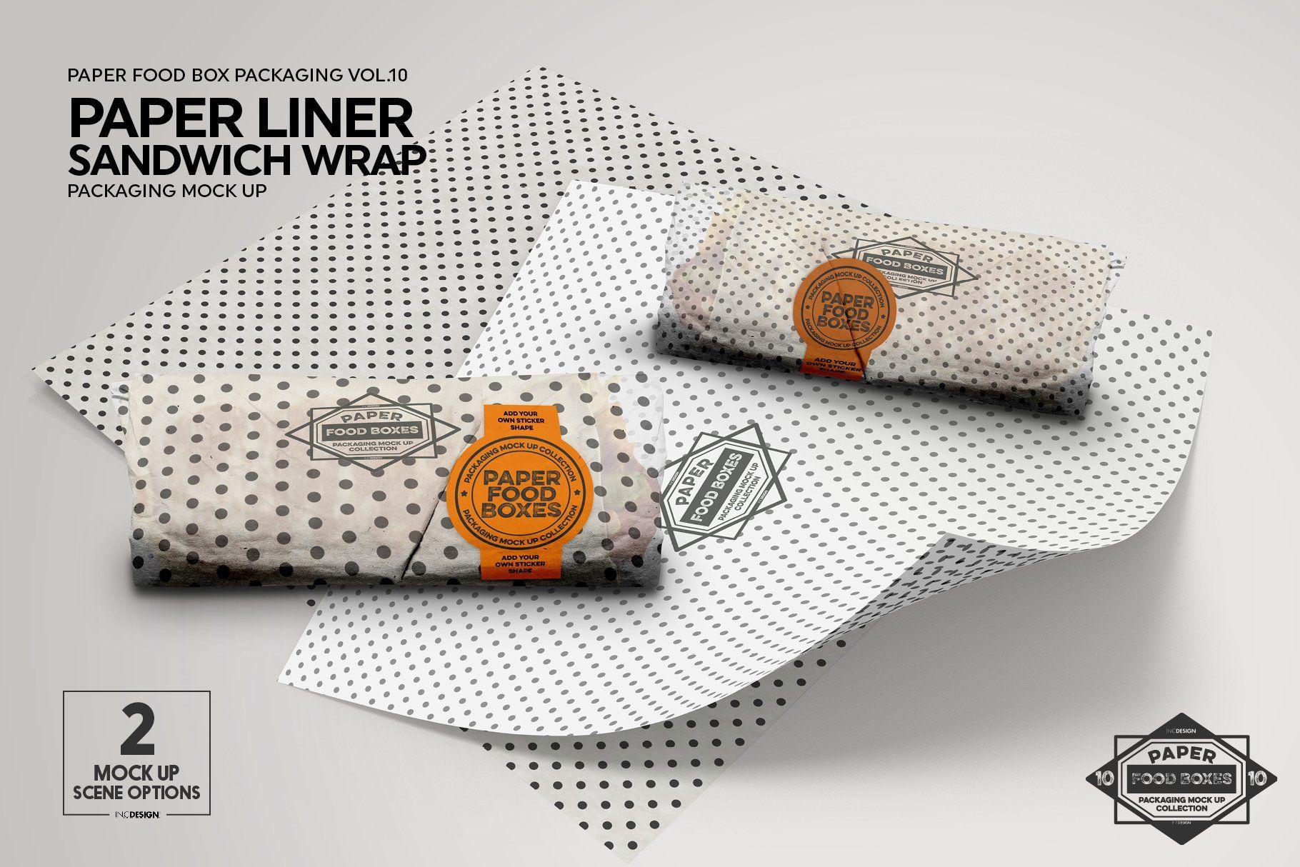 Wrap Or Burrito Paper Liner Mockup Paper Liner Free Packaging Mockup Food Box Packaging