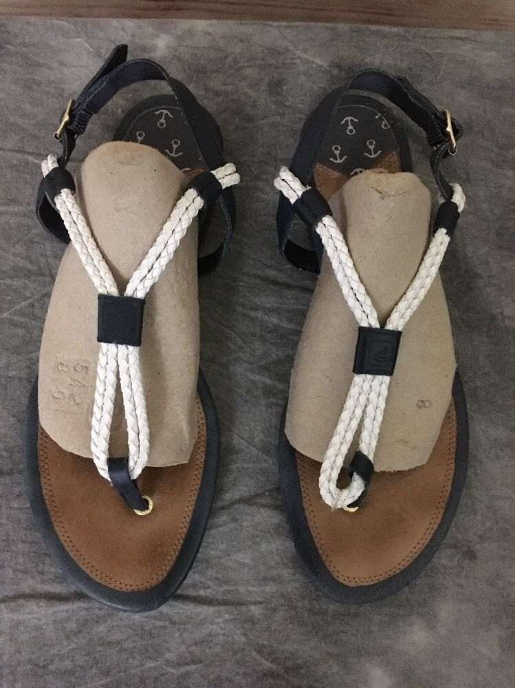 Women's Shoes Sperry Topsider Ankle Strap Flat Sandals Leather Brown Size 7.5M