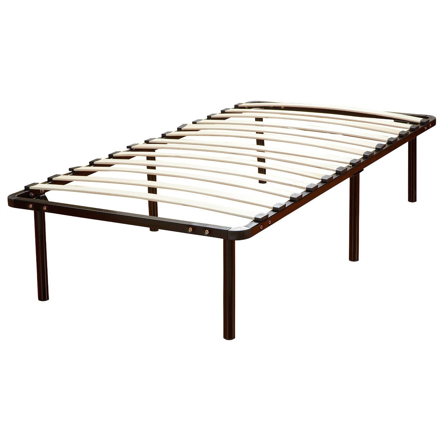 Queen Size Platform Bed Frame with Wood Slats No Boxspring