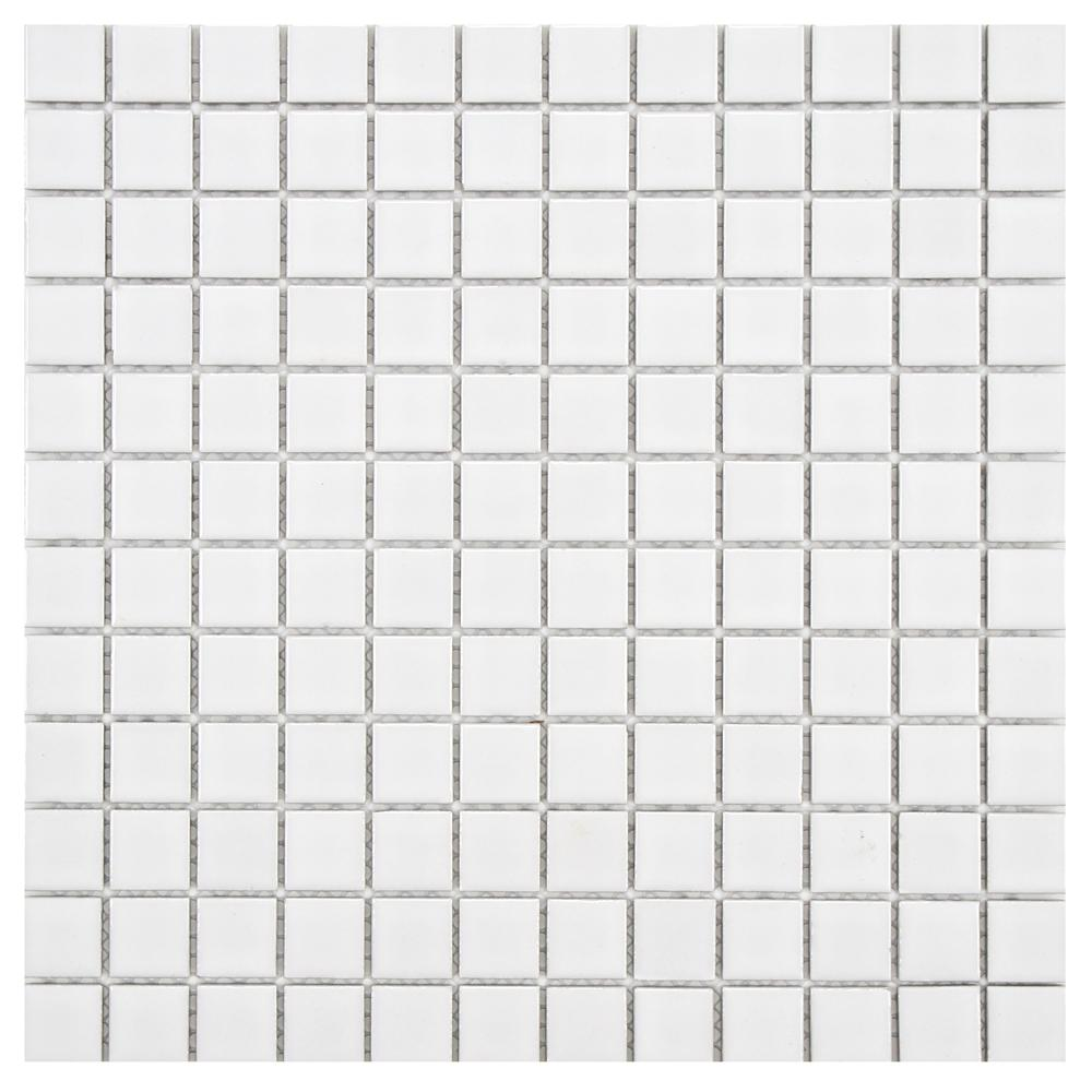 Merola Tile Boreal Square White 11 3 4 In X 11 3 4 In X 6 Mm Porcelain Mosaic Tile White High Sheen In 2020 Mosaic Tiles Tiles Mosaic
