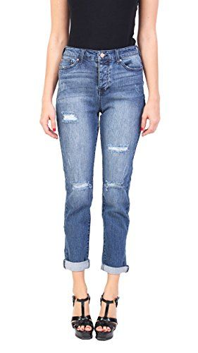 c8390f2628623 Celebrity Pink Jeans Women High Rise Distressed Ankle Straight Jeans with  Rolled Cuff