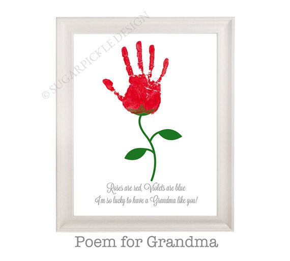 Gift For Grandma Grandmas Birthday Personalized Handprint Kids To A Mothers