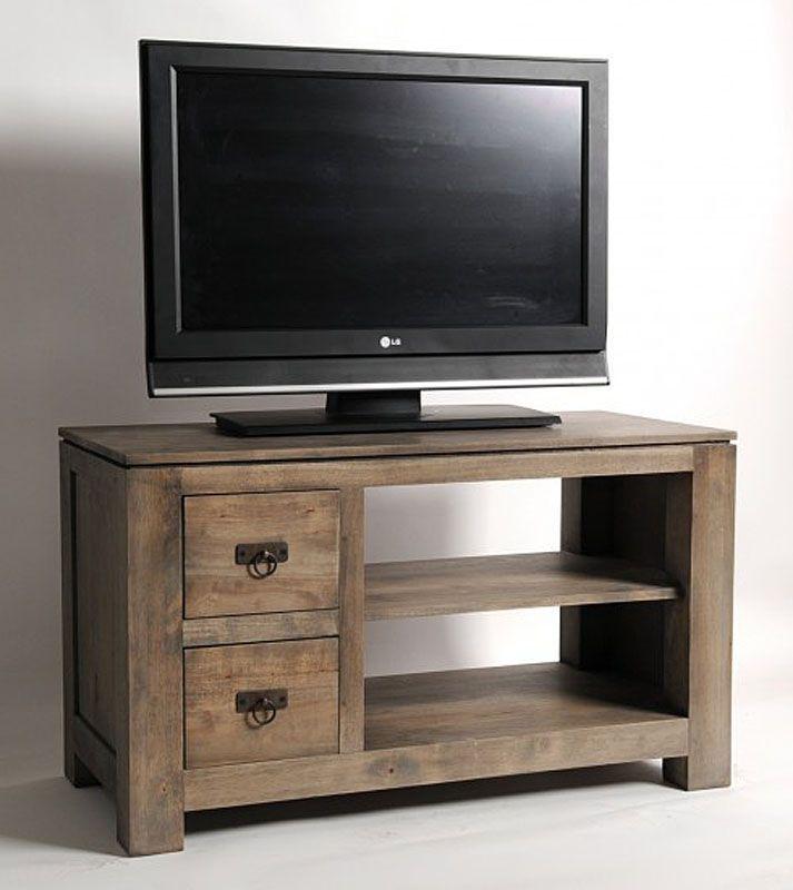 meuble tv hevea massif gris 2 tiroirs