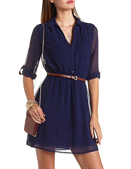 10d3801c7 Belted Chiffon Shirt Dress #CharlotteRusse #CRfashionista #shirtdress