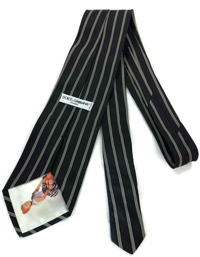 9c68d0e0ae00 Vintage Dolce & Gabbana Black and White Pinstripe Peek a Boo, Pin Up Silk  Tie