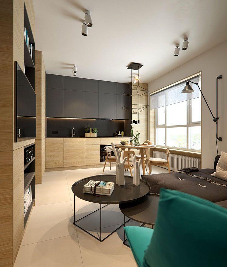 Consiglio cucina e soggiorno 18mq. Come Arredare Un Open Space Di 20 30 Mq Mondodesign It Small Apartment Interior Interior Design Apartment Small Apartment Interior
