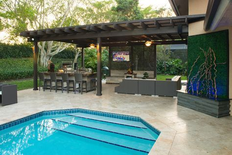Outdoor Kitchen And Pergola Project In South Florida  Traditional Pool Designs Home