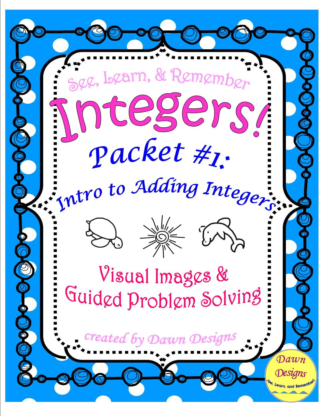 Integer Worksheet Intro To Adding Integers