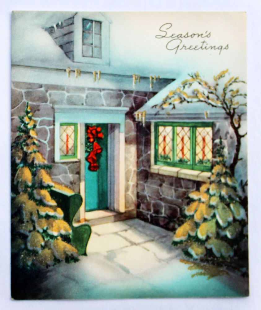 1950's Enchanting Front Door Red Bell Wreath Gold Glitter Vintage Christmas Card