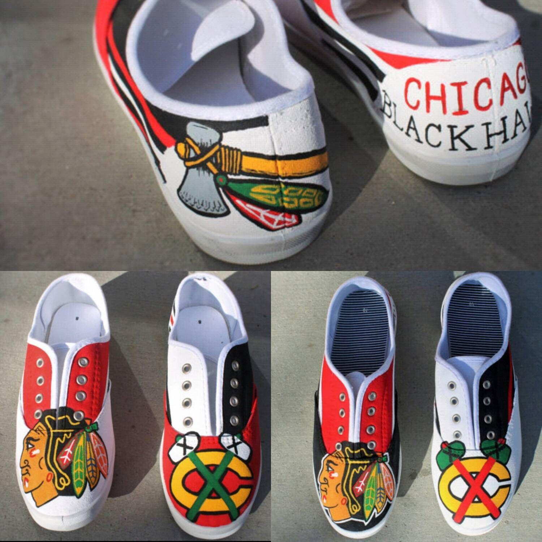 Chicago Blackhawks Custom Painted Shoes Womens Painted Shoes Custom Painted Shoes Champion Shoes