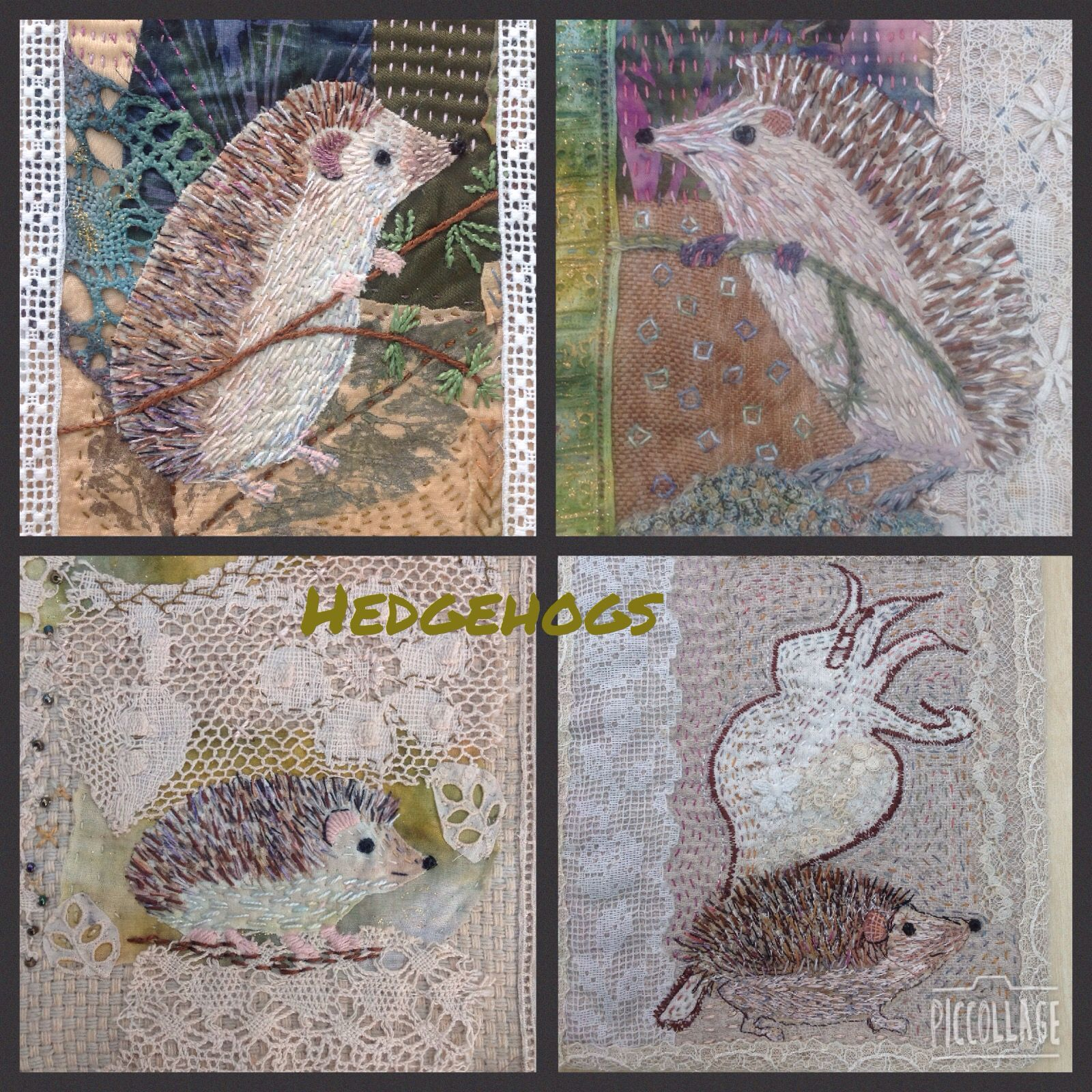 Stitched hedgehogs on vintage lace and dyed fabrics; great fun.Debbie Irving