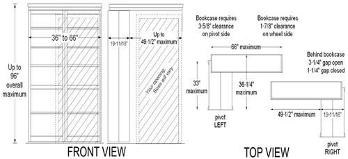 Nice Bookcase Door Systems   I Need This Sketch So I Can Build My Own Accordion  Bookcase