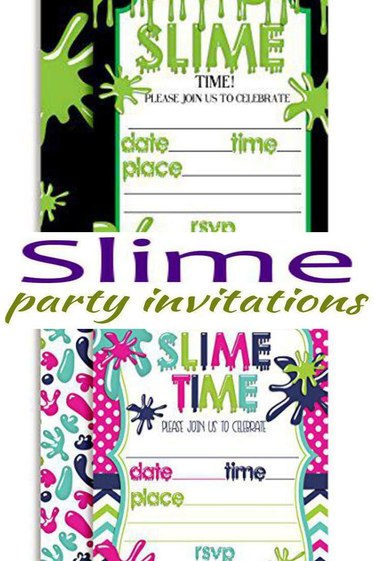 Slime Party Invitations  Slime party, Party invitations, Slime