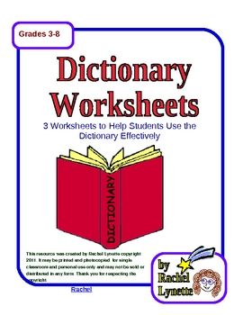 Free Dictionary Worksheets With Answer Keys Dictionary Skills School Reading Teaching Language Arts