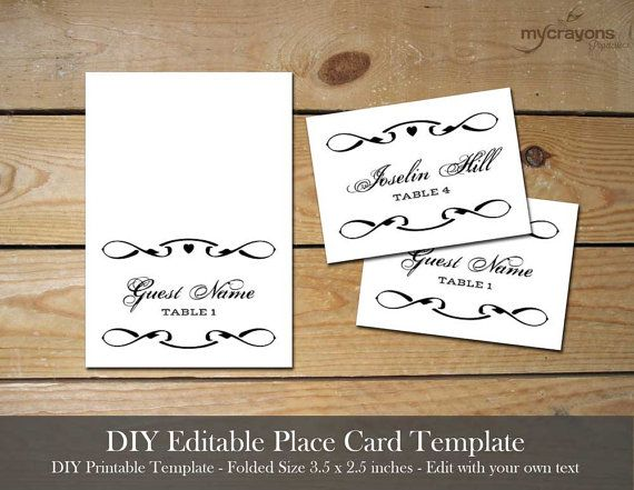 Instant Download Editable Place Card by MyCrayonsPapeterie ...
