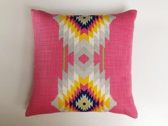 Andrew Martin Cruz Paraiso pink cushion, mayan kilim print, cerise yellow navy, boho pillow, tribal