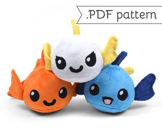 Goldfish with Animal Variation Plush Sewing Pattern .pdf Tutorial ...