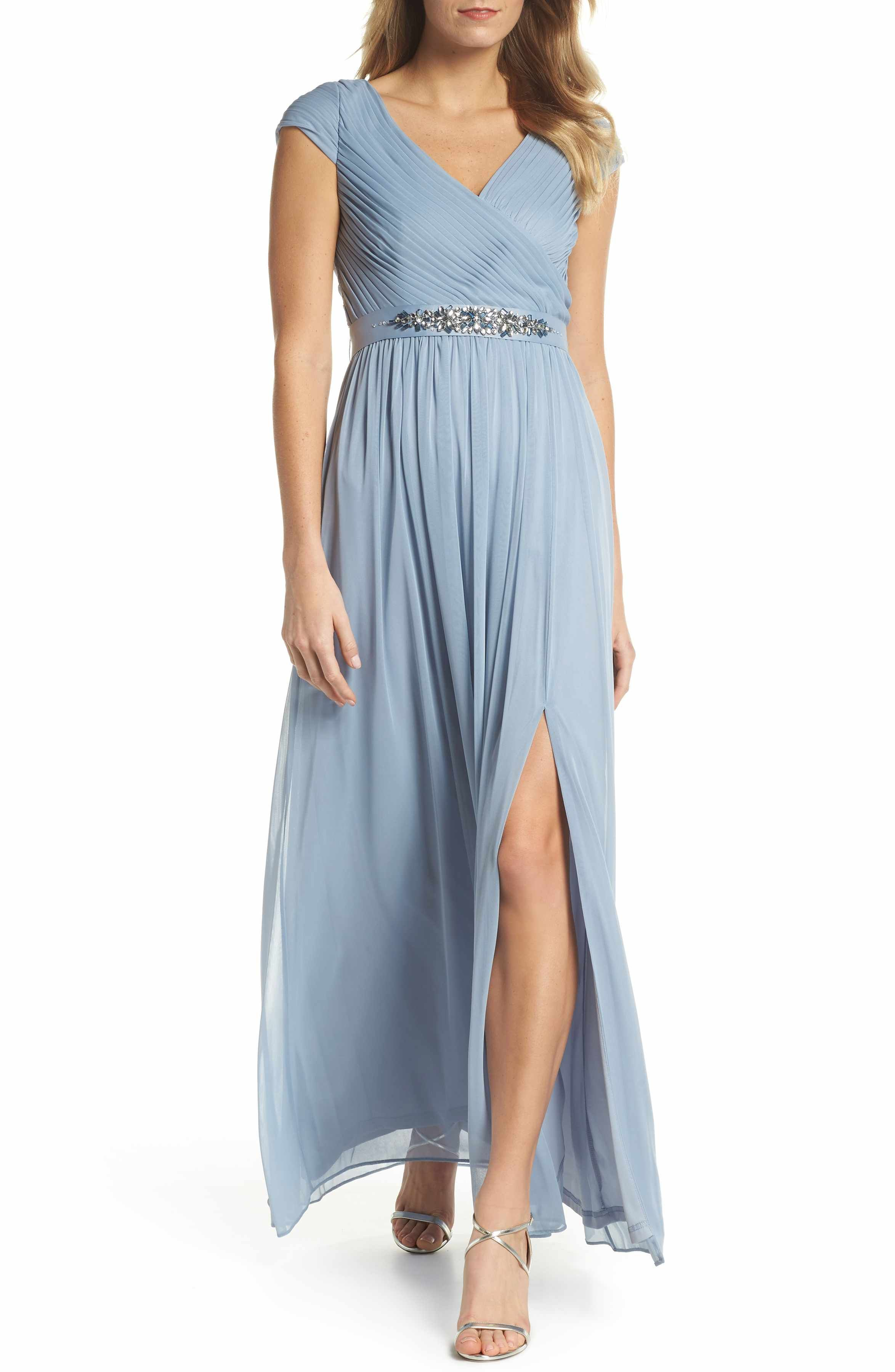 4b480007cc70 Adrianna Papell Shirred Chiffon Gown blue bridesmaid dress long bridesmaids  dresses - A pleat-textured, crossover bodice with abbreviated cap sleeves  is ...